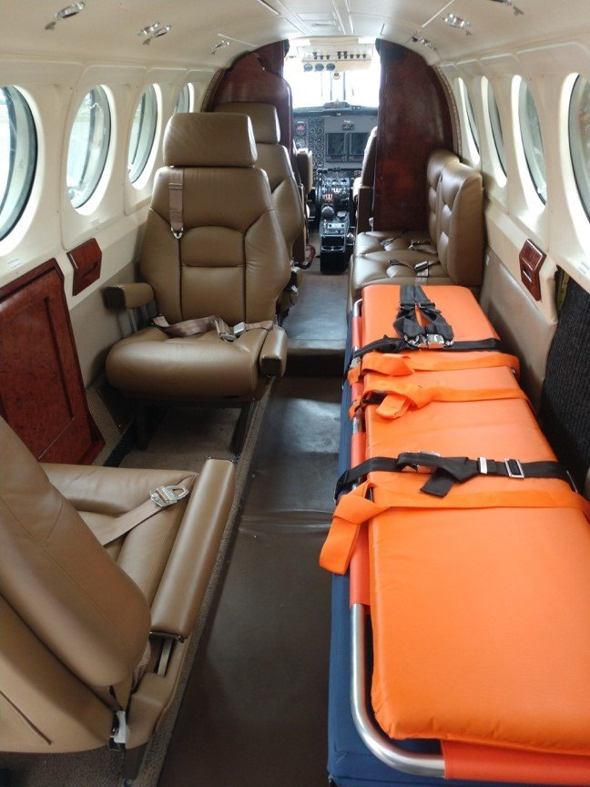 The King Air B200 can transport one patient, medical crew and up to four family members.