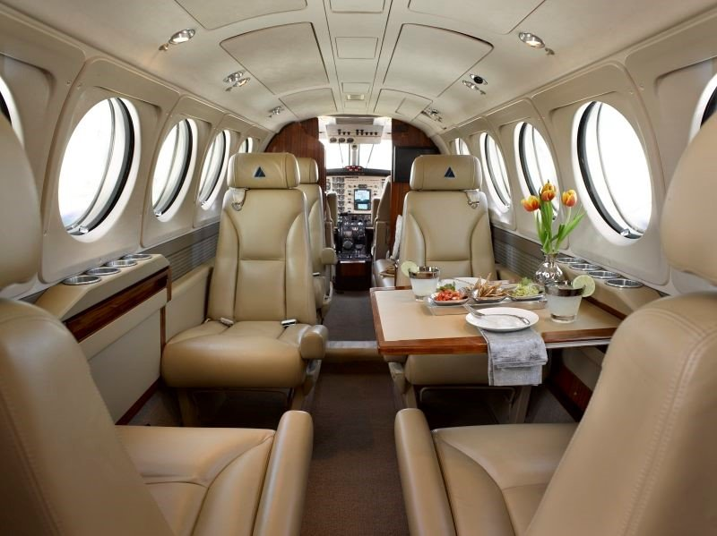 The King Air B200 seats nine passengers.