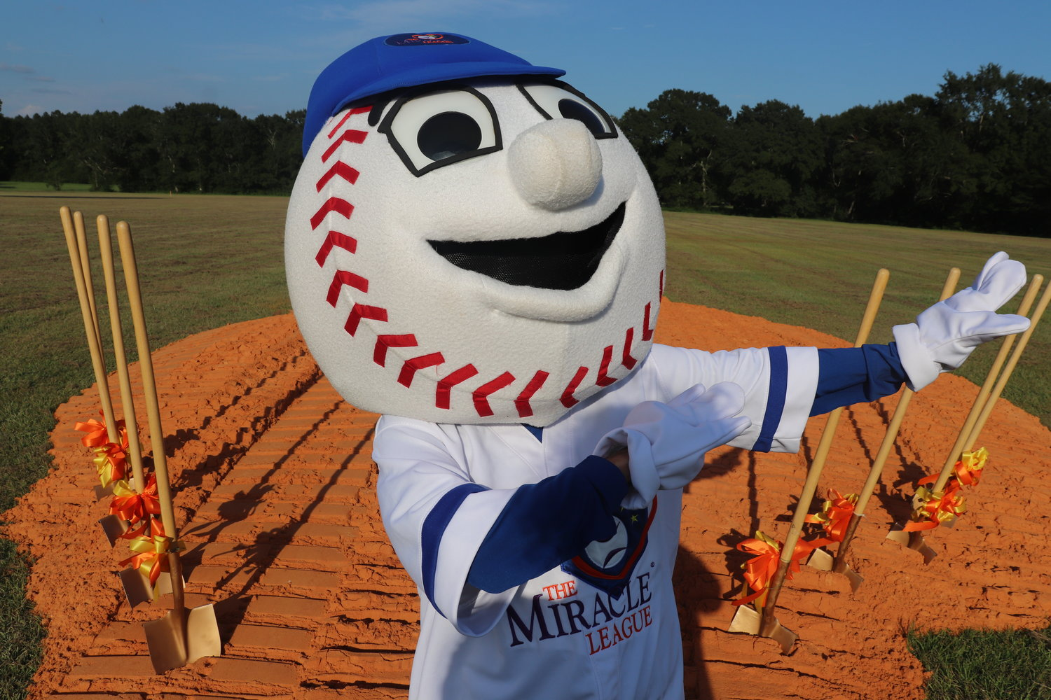 The Miracle League mascot, Homer, poses before the groundbreaking ceremony in Summerdale last week. The stadium complex, which will also be home to an all-inclusive playground, is estimated to be completed in 18 months.