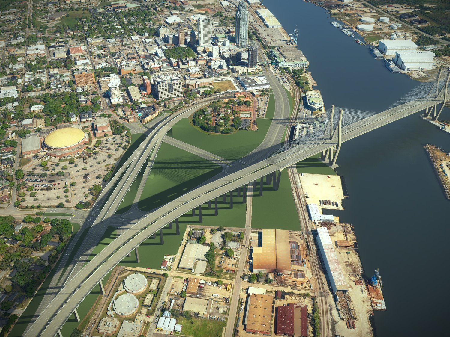 The proposed Interstate 10 bridge over the Mobile River is shown in an artist's conception for the Alabama Department of Transportation. An ALDOT proposal to charge a toll of up to $6 to cross the bridge and Bayway has drawn opposition from Eastern Shore cities and the Baldwin County Commission.