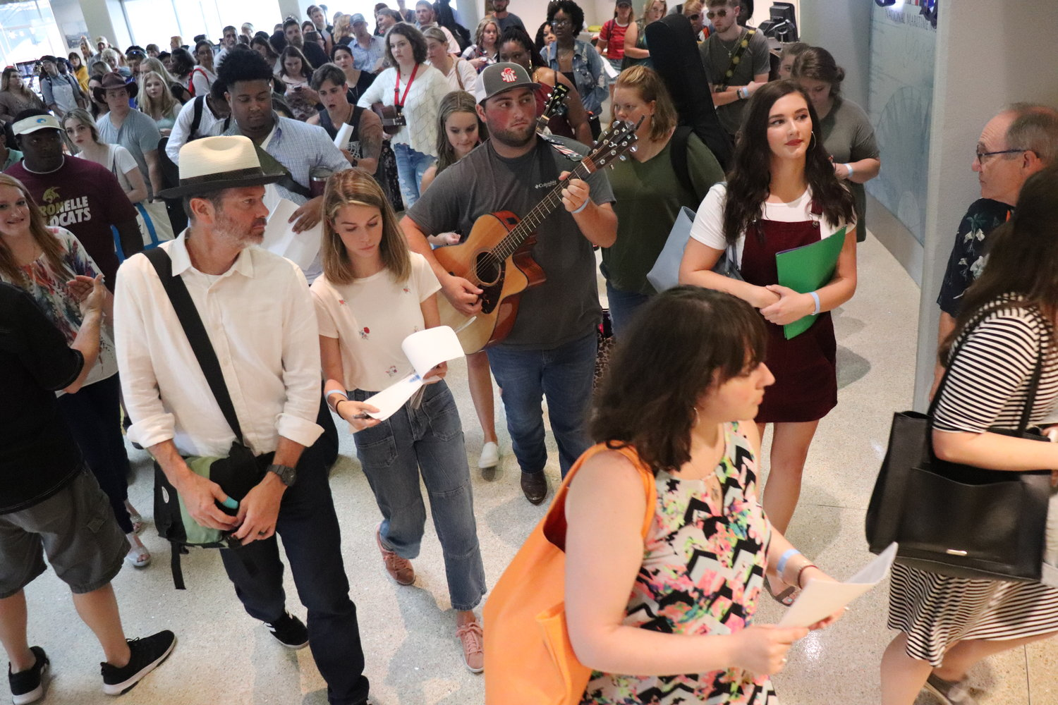 Hopefuls head upstairs to meet producers from American Idol.
