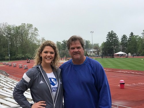 Daughter Kaitlyn Ebert recently graduated from Eastern Illinois University where she was a standout athlete in javelin, discus and shotput.