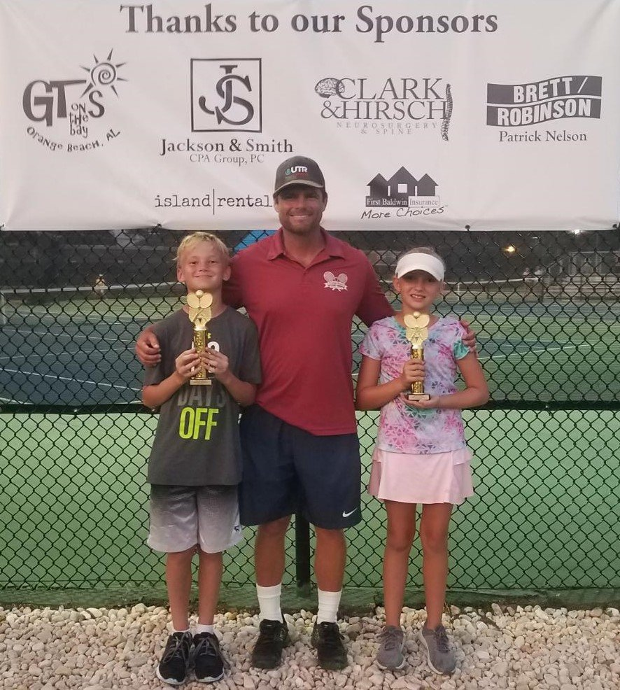 Co-Ed 10U - Orange Ball Champions - Julianna Williams of Orange Beach, first place girls, and Atticus George of Orange Beach, first place boys.