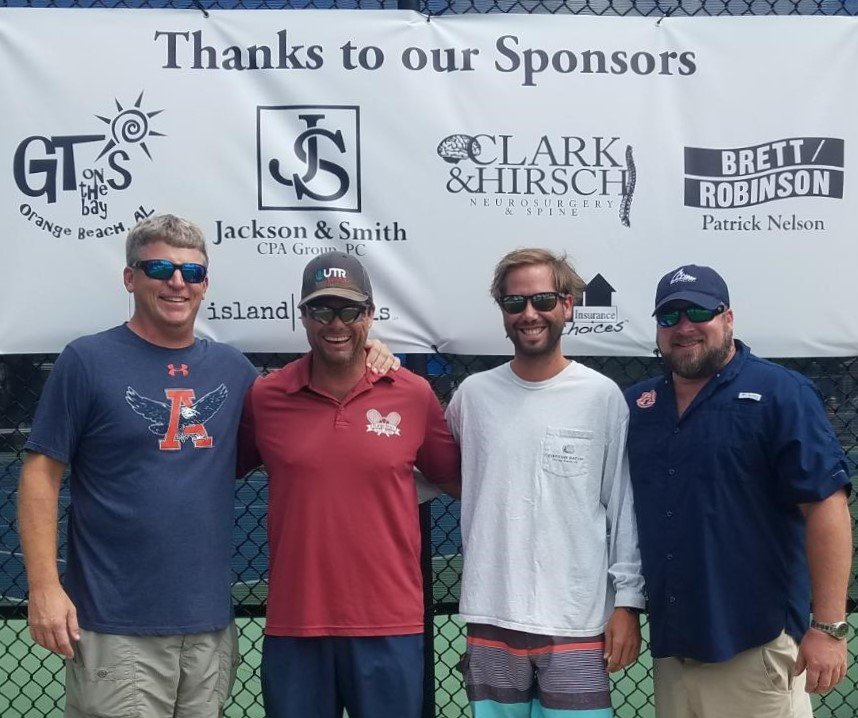 2019 Battle at the Beach Junior Tennis Tournament's sponsors with Rhett Russell.