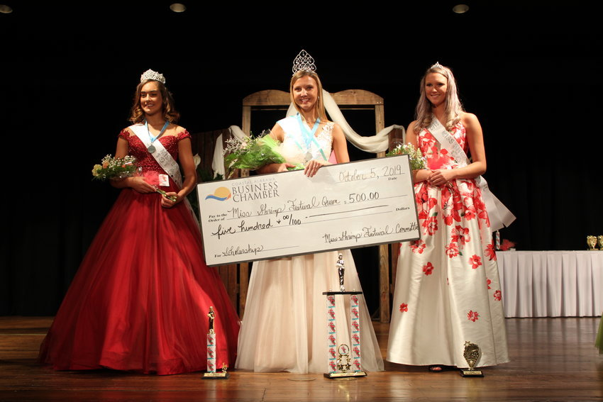 Miss Shrimp Festival 2019: (from left) First Alternate Hailey Shaye Holliday, Miss Shrimp Festival Abigail Jones, Court Kailee Howard