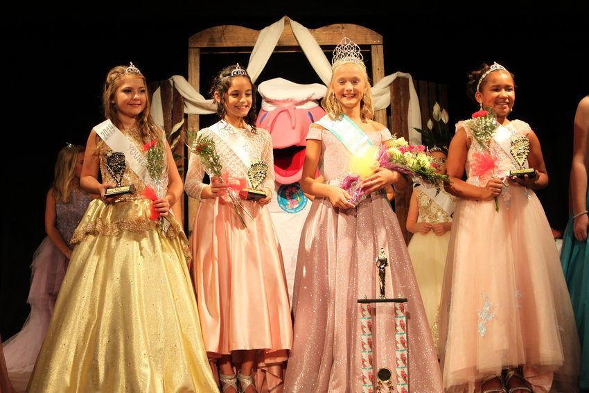 Young Miss Shrimp Festival 2019: (From left) Court Haven Faith Spruiell, Giuliana Kammers, Young Miss Eleanor Rachel McCoy, Court Talia Deja Nix