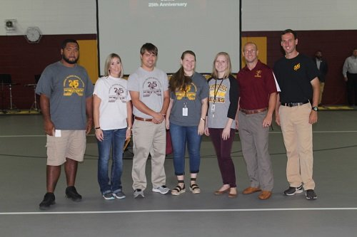 Central Baldwin recognized faculty members who were also students when the school opened in 1994, Eliott Stanton, Jessica Richmond, Randa Smith, Landis Bryant, Haley Clark, Matt Miller and Bryant Ramey, who serves as assistant band director at Robertsdale High School.