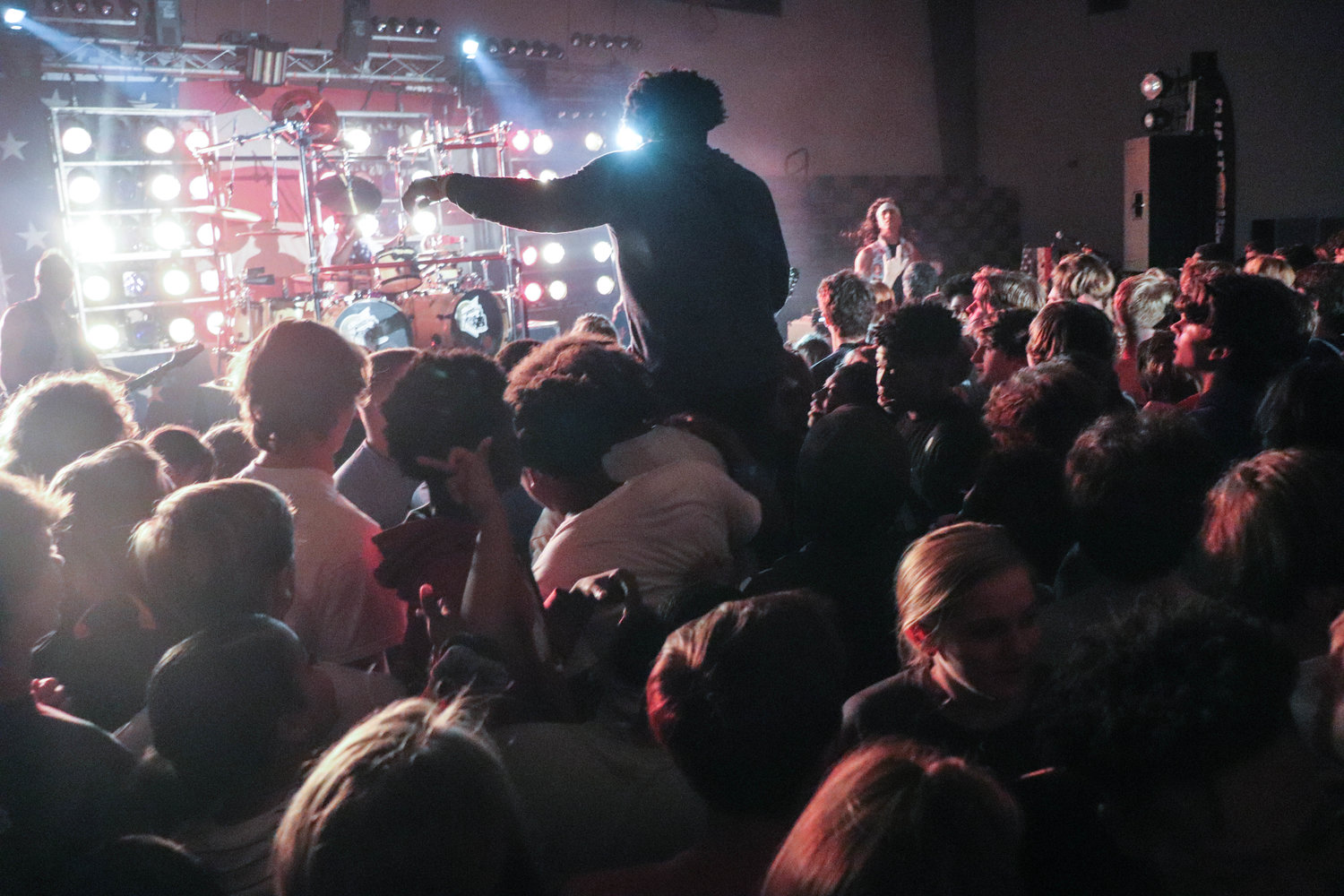 Students filled the school gym to watch the Velcro Pygmies perform.