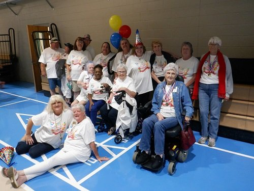 Members of the George P. Thames Adult Activity Center show of their medals from the 2019 Masters Games of Alabama, held Oct. 7-11 in Valley.