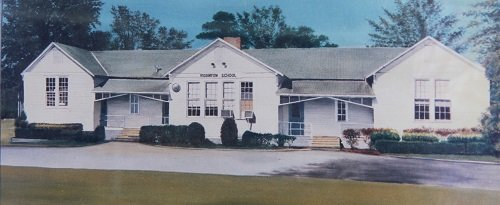 An artist's rendering of the first Rosinton School.