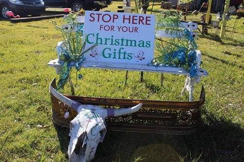 Items are offered for sale inside and outside the shop.