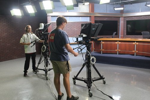 The TV Production studio uses sets donated by local television station WKRG.