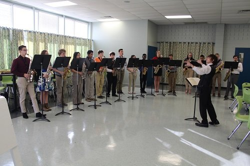 Members of the Robertsdale High School Golden Bear Band Saxophone Ensemble performed during the January Superintendent's Breakfast held Friday, Jan. 17 at the South Baldwin Center for Technology Culinary Arts Building in Robertsdale.