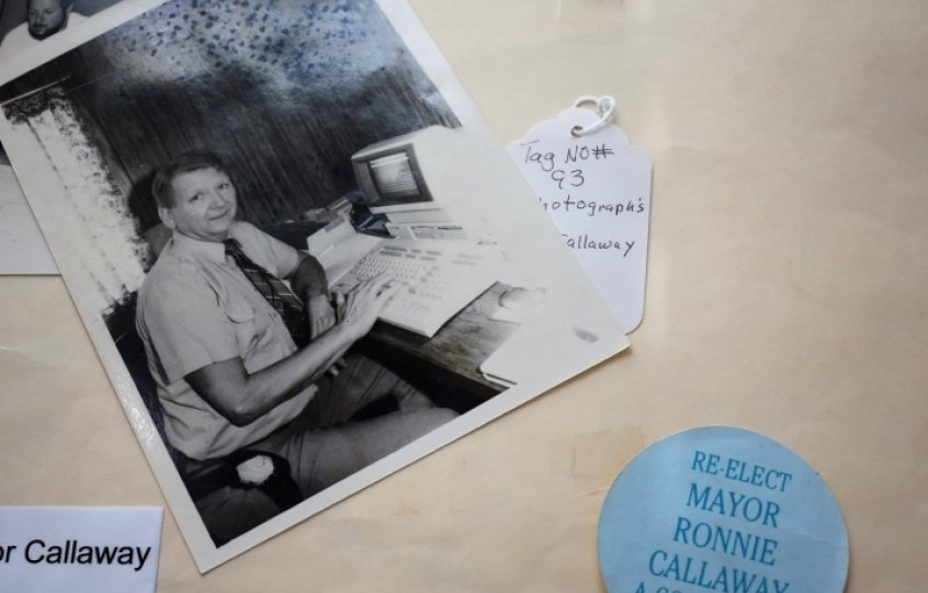 Orange Beach Mayor Ronnie Callaway sits at an early computer in the 1980s. Callaway served as the city's first mayor from 1984 to 1992.