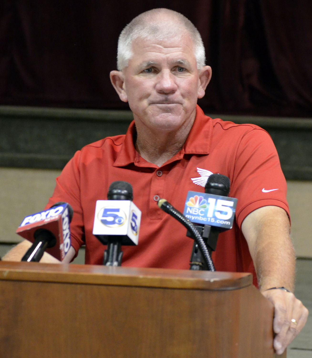 Scott Phelps takes questions during a press conference at Jubilee Hall in Daphne.
