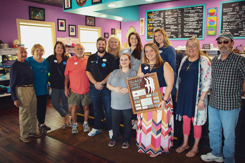 Coastal Alabama Business Chamber and Beachball Properties presented the Island Spirit Award to Alyssa Daniels of Buzzcatz Coffee & Sweets on March 4.