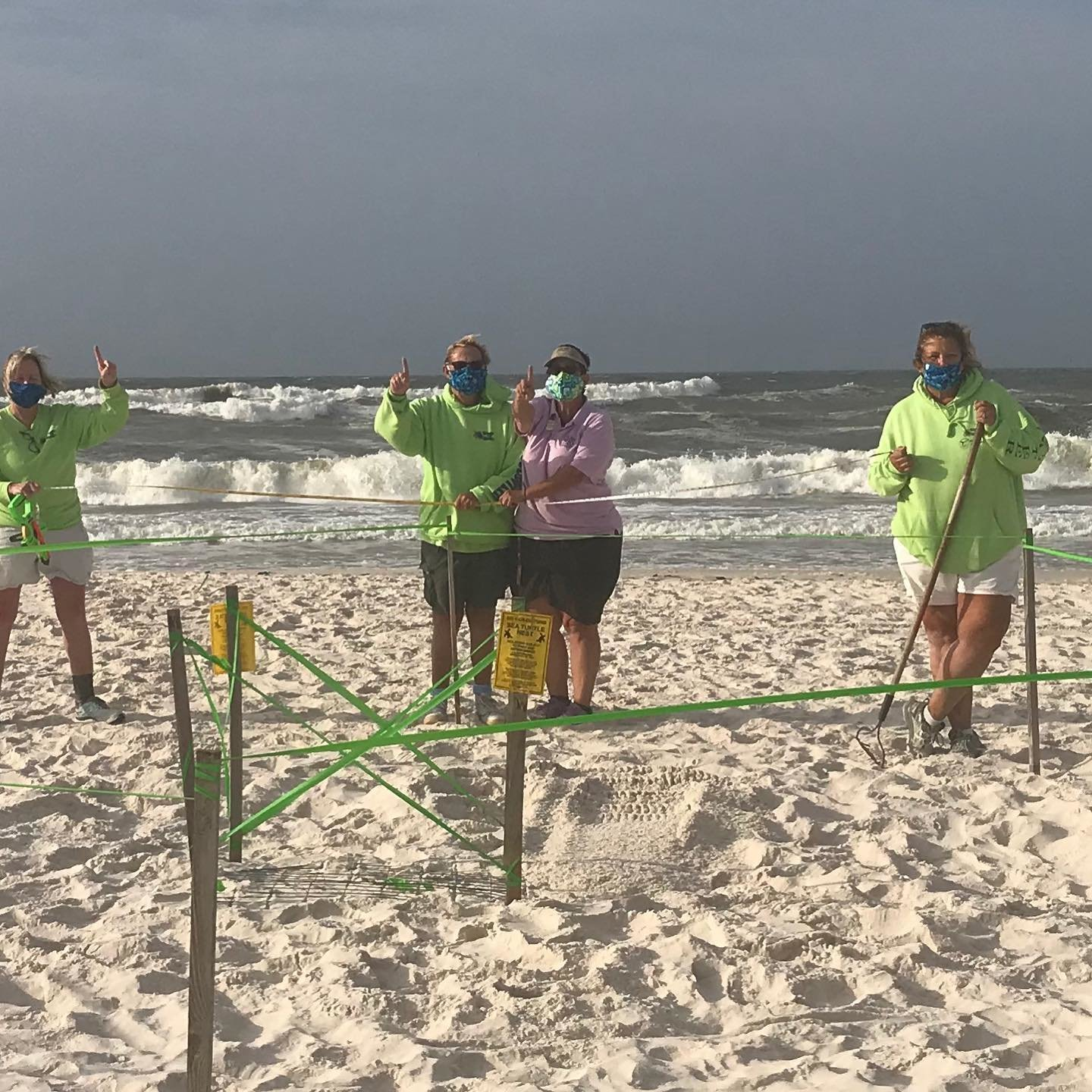The West Beach turtle patrol volunteers found the first sea turtle nest of the 2020 season.