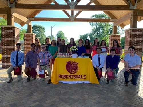 Robertsdale High School Alumni Association Scholarship recipients, in no order, Maggie Moore, Sabrina Brazwell, Joseph Krob, Zander Westphal, Sarah Shipp, Isaac Godfrey, Jacob Eakin, Ashley Campos, Chrystyn Reville, Hallie Wells, Anna Racine, Trooper Murphy, Mallory McRae, Emma Spears, Brooklyn Haigler; and not pictured Brandon Wilson.