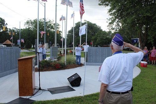 The Silverhill Veterans Memorial Organization held a flag raising ceremony on Monday, May 25 at the Silverhill Veterans Memorial, which included honoring six veterans with ties to the community who have lost their lives over the past year.