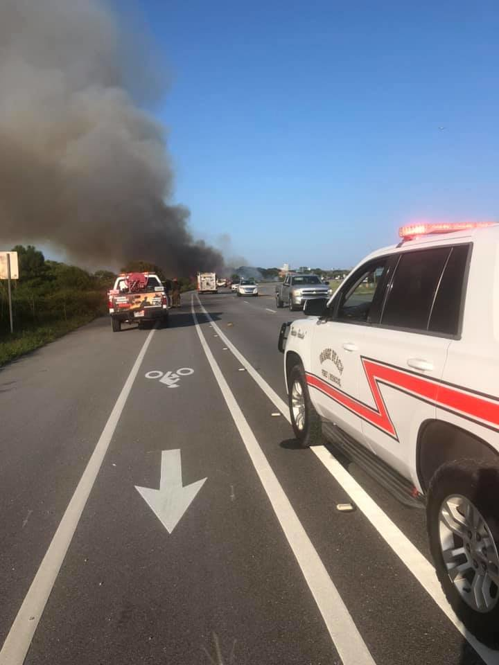 City of Orange Beach Fire Department) Fire crews from Orange Beach, Gulf Shores and Oyster Bay responded to a large brush fire in Gulf State Park Aug. 2.