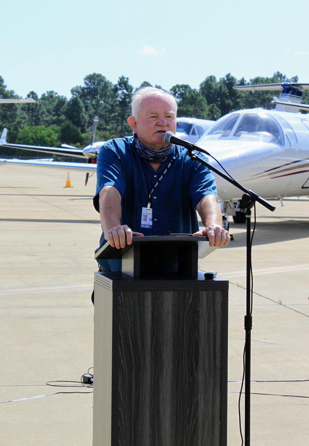 Scott Fuller, Airport Authority manager spoke to the large group gathered about those that have been involved in the long process of getting to this day. The Federal Aviation Administration awarded a $6 million grant just four days ago to cover 100% of the construction costs.