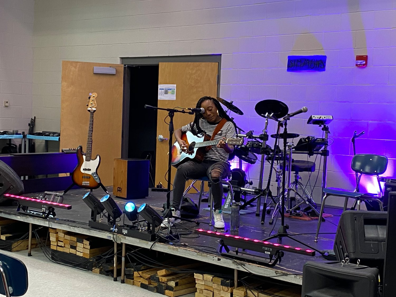 Gulf Shores High School has an existing music lab and music technology course taught by Tim Simmons. The classroom has a small stage, sound and lighting equipment where students learn the basics and sometimes host guest artists.