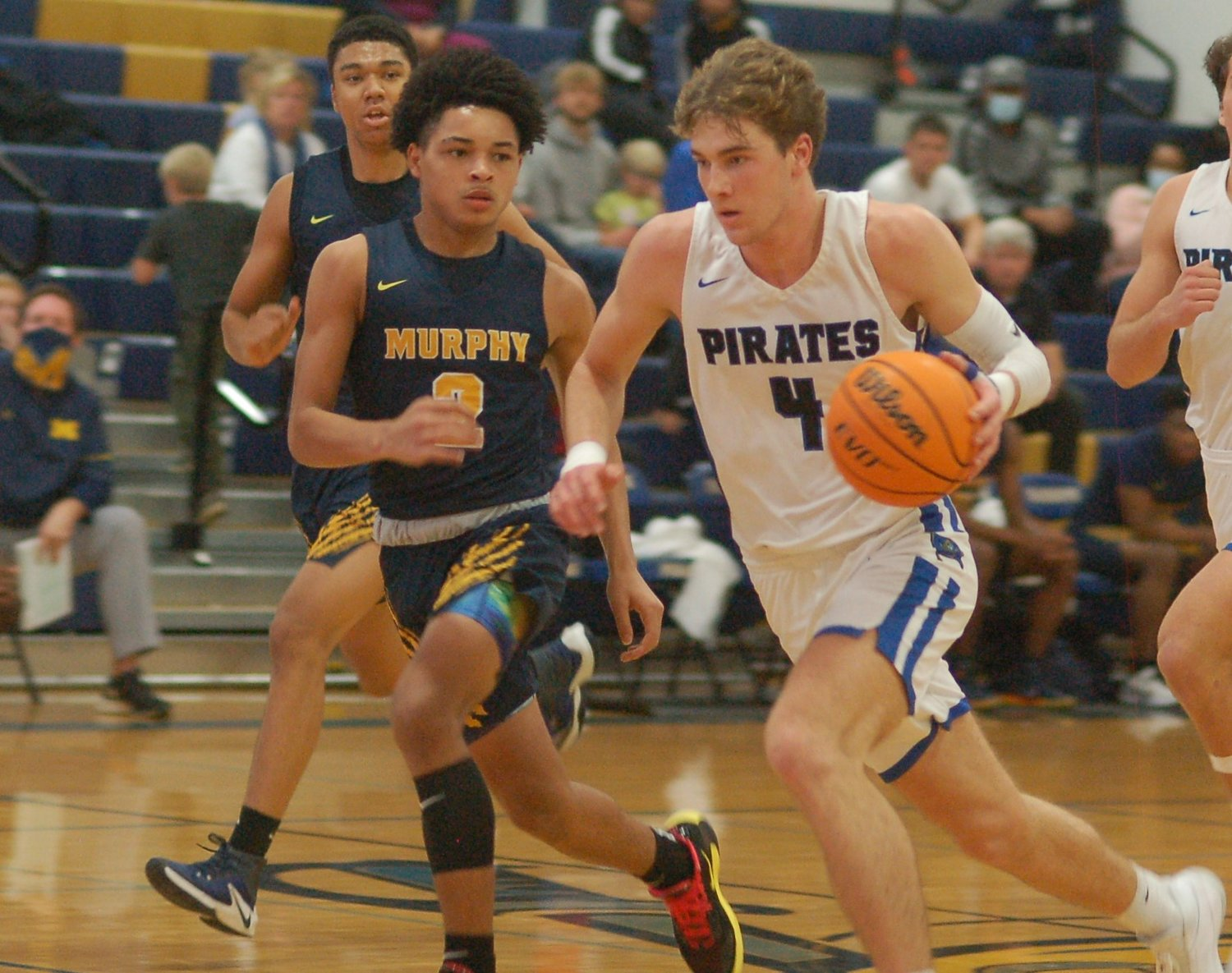 Ed Witherington drives up court for Fairhope.