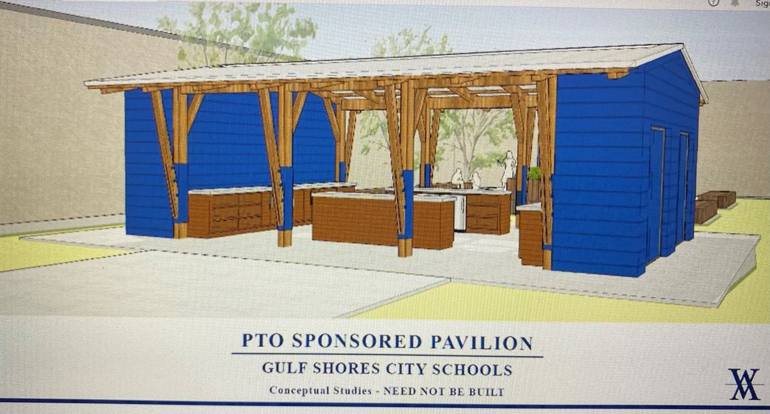 The open-air covered pavilion is to be located between the elementary and middle school and will allow for the space to be shared by both schools. It will feature grills and refrigerators and expansive counters to allow for hands on learning.