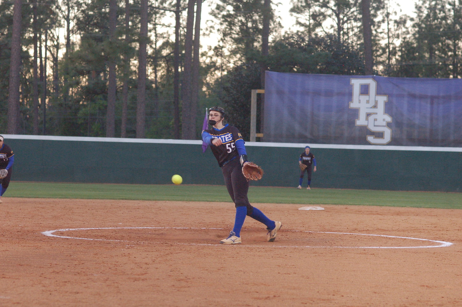 Alea Johnson (55) in the circle for the Pirates.