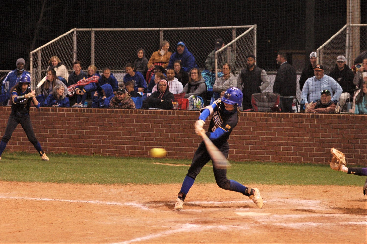 Lorna Agren makes contact for Fairhope.