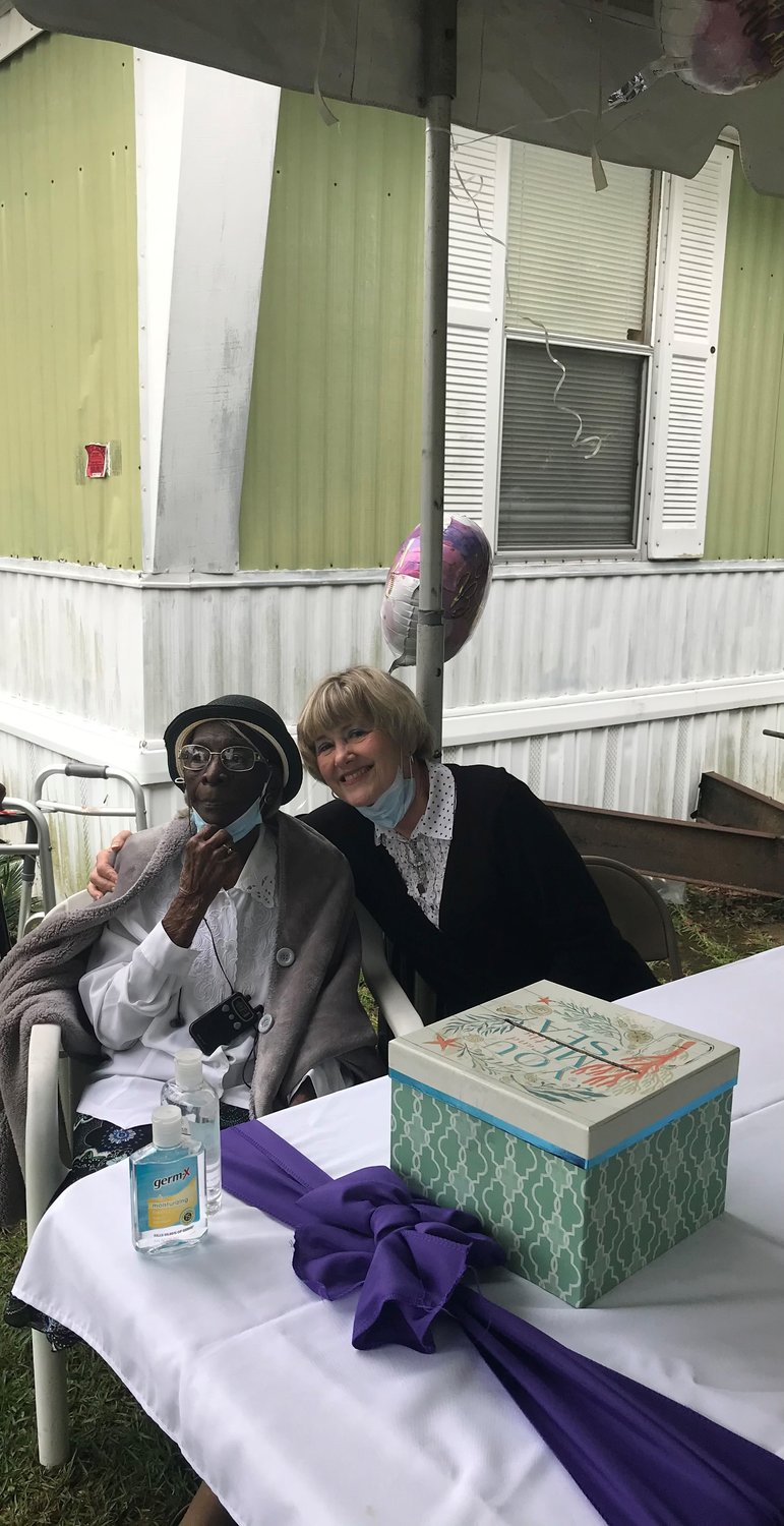 Mary Calhoun with Loxley Council member Katherine Breeden at her birthday celebration on Saturday, April 10.