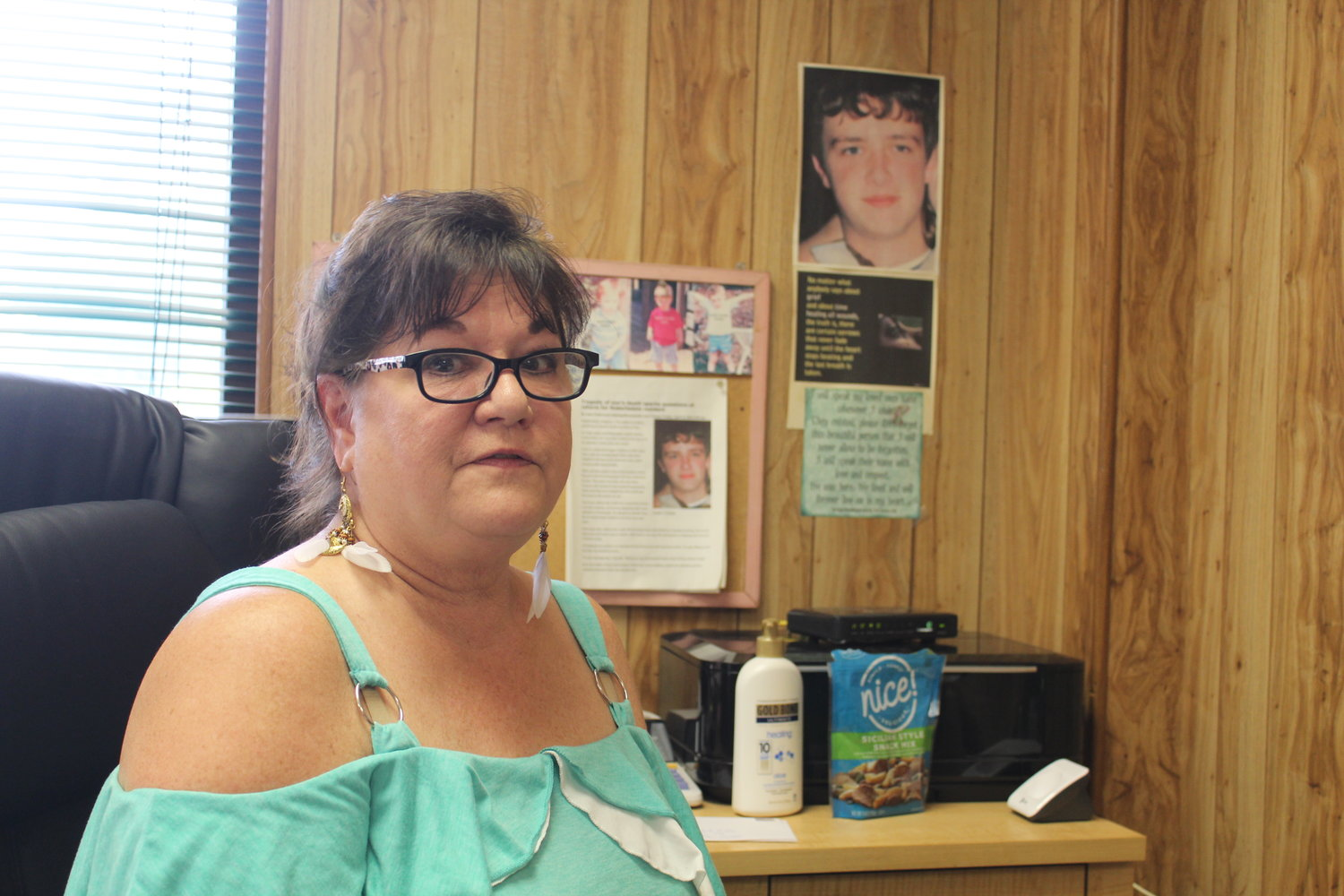 Donna Atkins keeps reminders of her son Justin at her office in Robertsdale.