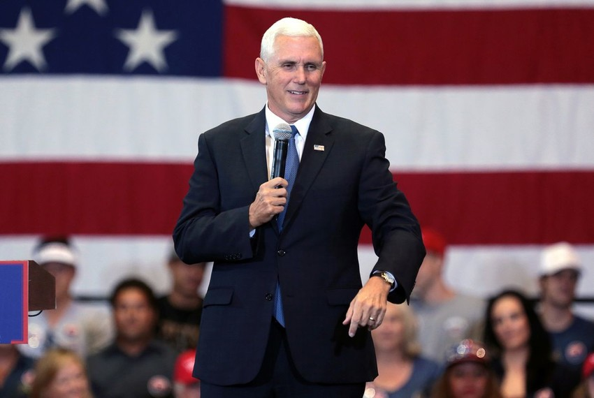 Mike Pence speaking with supporters at a campaign rally for Donald Trump at the Phoenix Convention Center in Phoenix, Arizona on Aug. 2, 2016.