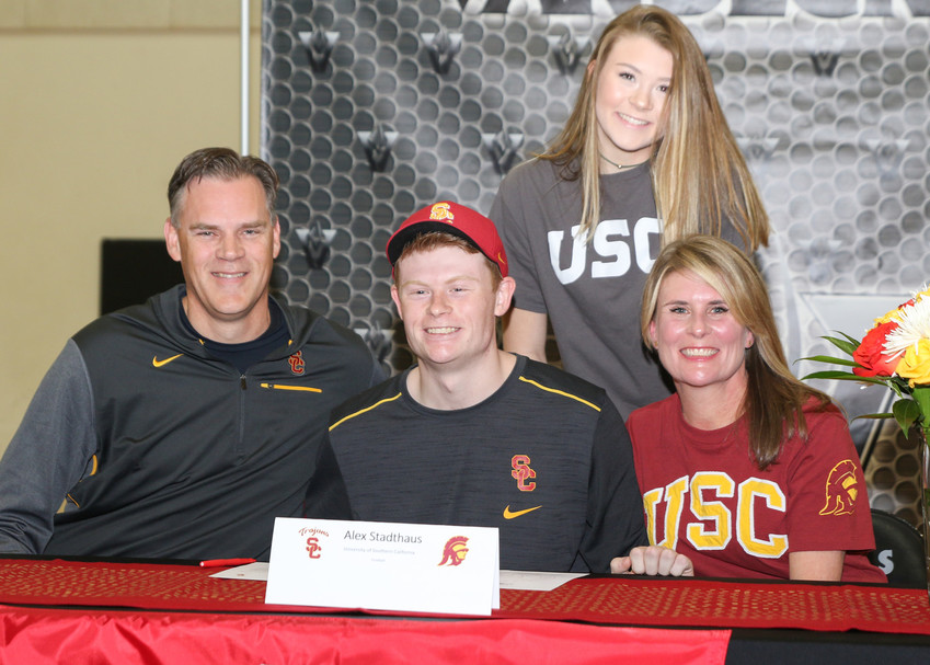 Alex Stadthaus signed a letter of intent to play football at the University of Southern California during a signing day ceremony at Vandegrift High School on February 7, 2018.