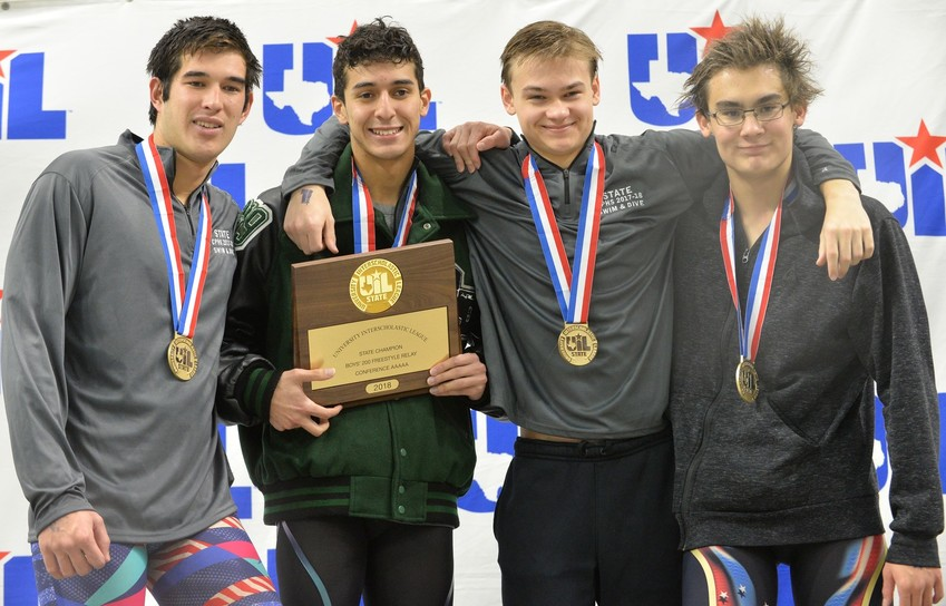 The Cedar Park boys' 200-yard freestyle team of Braden Sullivan, Dominic Toledo Sanchez, Vladimir Ivanov and Jay Lenner won the gold medal at the Swimming & Diving State Meet on Saturday.