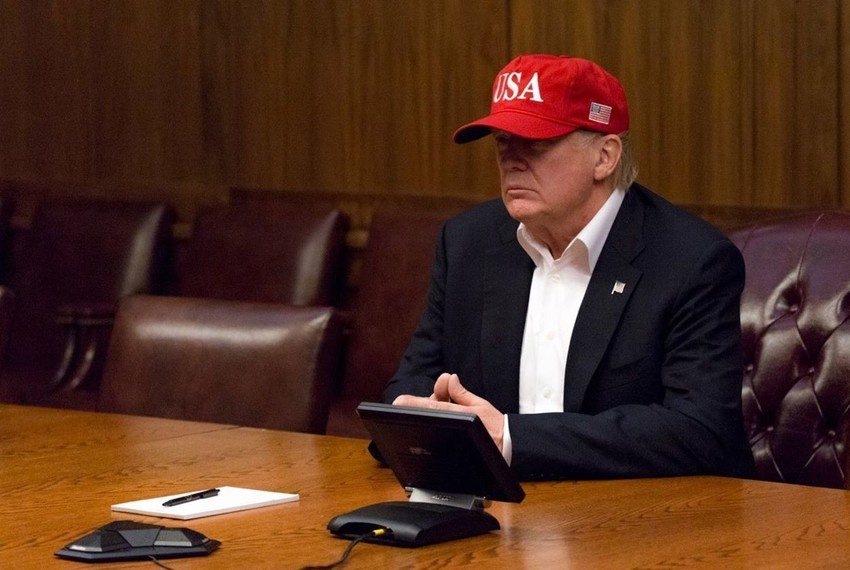 President Donald Trump leads a video teleconference monitoring current tropical storm conditions and damage assessments in southeastern Texas on Sunday, Aug. 27, 2017, from a conference room at Camp David, near Thurmont, MD.