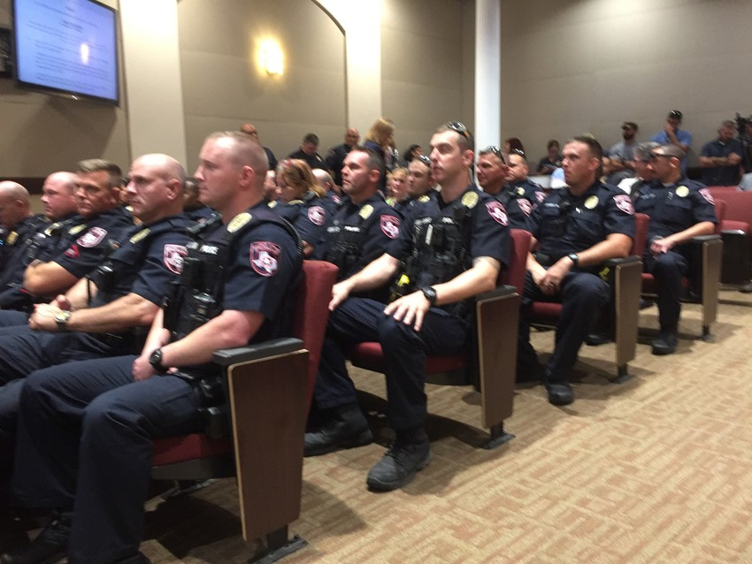 More than 50 Cedar Park police officers attended an Aug. 10 City Council meeting, where the Council began the process of searching for a firm to conduct an independent review of police procedures.