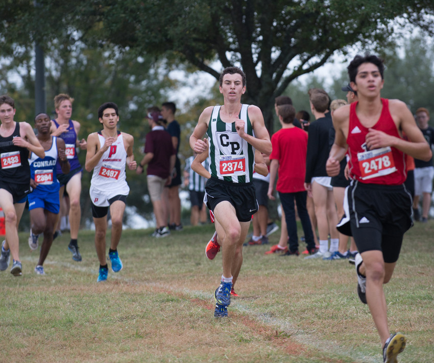 Travian Holst of Cedar Park High School runs in the UIL Cross Country State Meet at Old Settlers Park in Round Rock, Texas, on Saturday, Nov. 4, 2017. Holst was the top finisher among Leander ISD boys in the Class 5A race, with a time of 15:54.07, helping the Timberwolves to a third-place overall team finish.