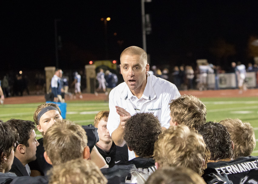 Vandegrift Vipers head coach Drew Sanders talks to his team following last year's first-round playoff victory over San Antonio-Johnson High School. Vandegrift will face Johnson in the first round of the 2017 playoffs next week.