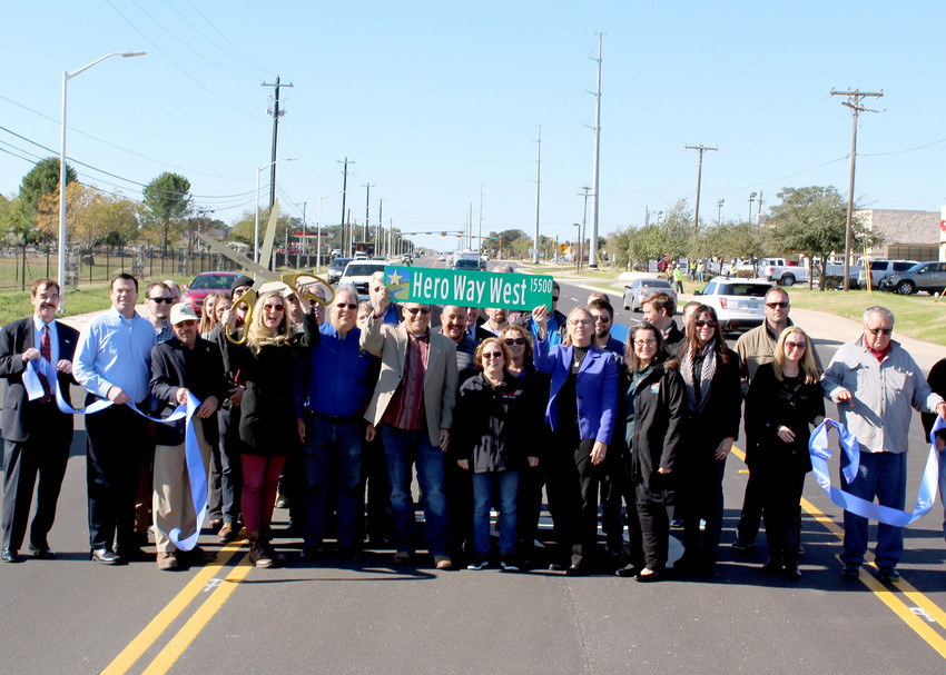 Leander and WilCo officials and project partners celebrated the completion of Hero Way West during a ribbon cutting ceremony, Monday, Nov. 20.