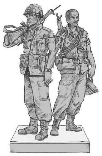 This rendering of a proposed Vietnam War sculpture depicts two male soldiers by Matt Glenn. The Cedar Park City Council voted the design down for its lack of women representation at its Feb. 8 meeting.