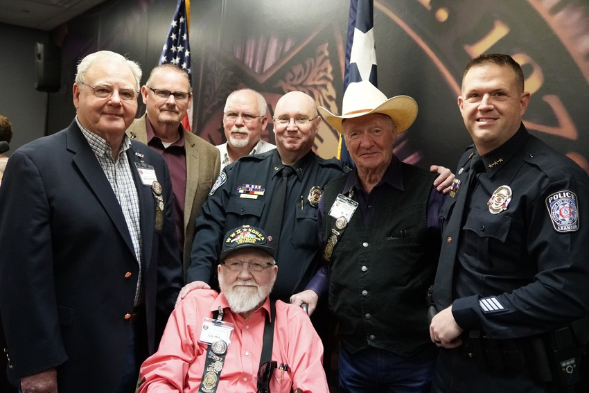 All six former Leander Police Chiefs attended the Leander Police Dept. 40th Anniversary event.     (Left to Right) fifth Former Chief Don Hatcher (1998-2012), third Former Chief Ray Jones (1991-1995), forth Former Chief Bolton Linden (1995-1998), Asst. Chief Jeff Hayes, second Former Chief Lee Nusbaum, current Chief Greg Minton and seated is first Former Chief C.D. Hill (1978-1980).
