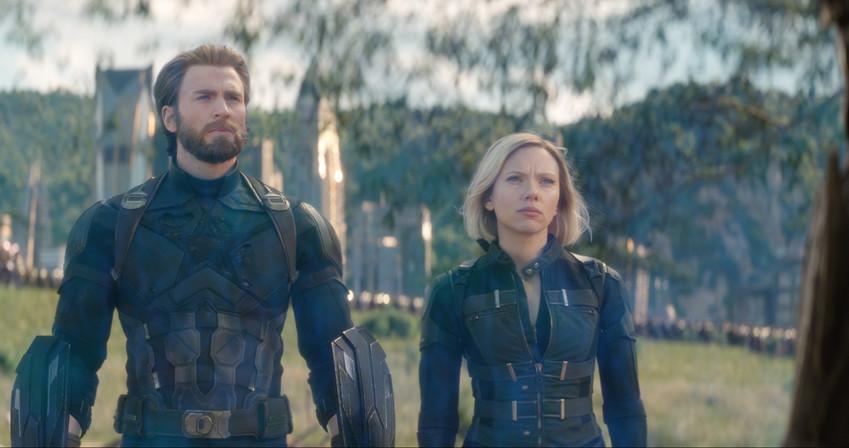 L to R: Captain America/Steve Rogers (Chris Evans) and Black Widow/Natasha Romanoff (Scarlett Johansson).