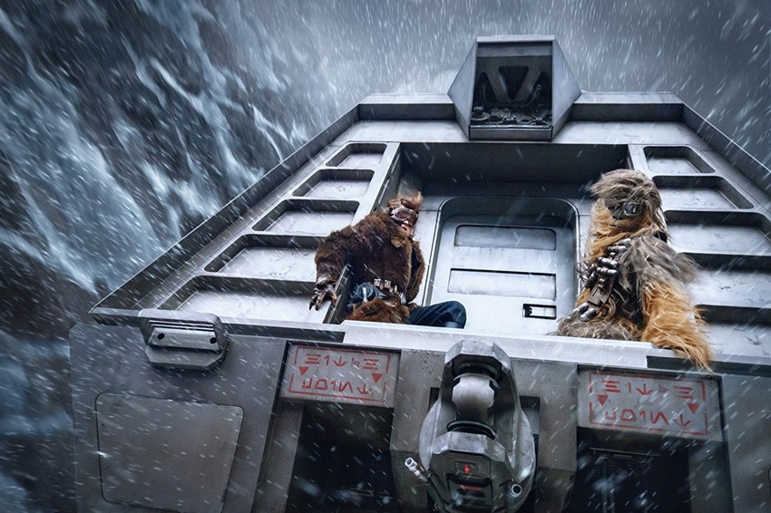 """Alden Ehrenreich and Joonas Suotamo star as Han Solo and Chewbacca in """"Solo: A Star Wars Story,"""" out in theaters now."""
