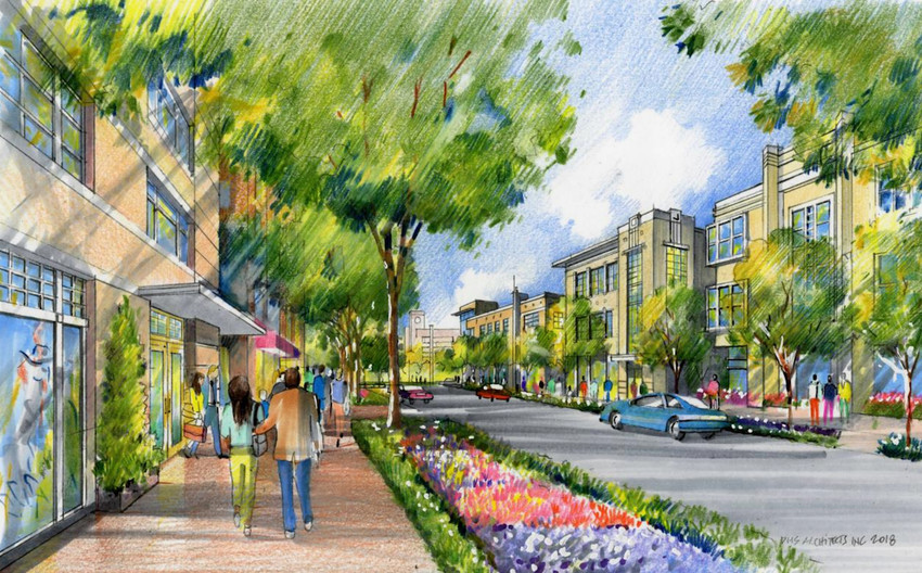 An artist's rendering of what Mel Mathis Boulevard could look like in a future Northline development project. The Leander City Council approved $15 million for infrastructure for the first phase of the project at its June 7 meeting.