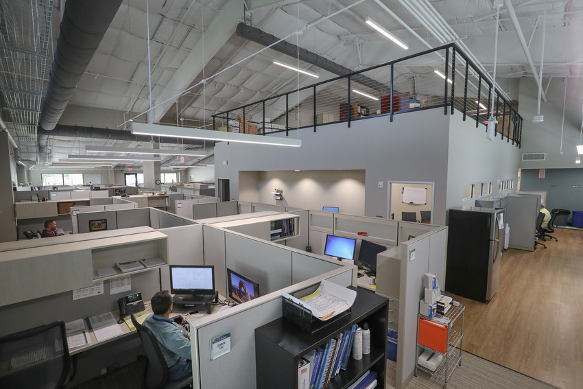 A view inside the newly-renovated Pat Bryson Hall, where a fire station was converted to functional office, work and meeting spaces.