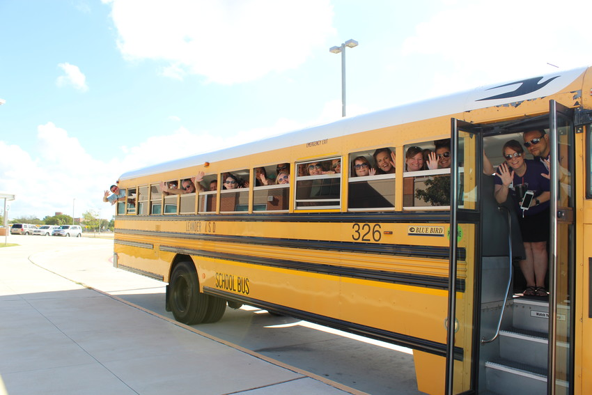 New-to-district Camacho Elementary teachers board an LISD school bus to learn the routes students will take in preparation for the first day of school.