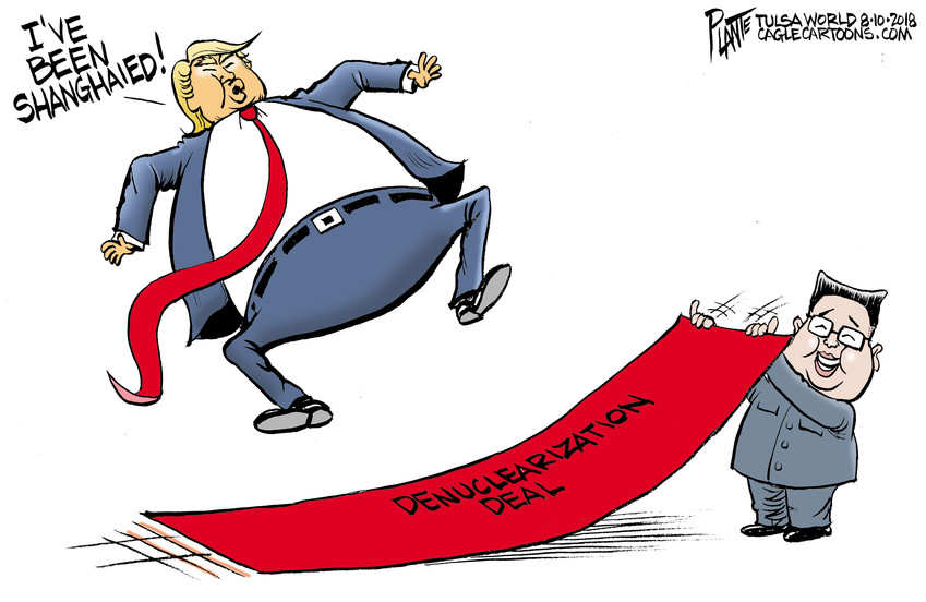 Bruce Plante Cartoon: Trump and the North Korea Deal, President Donald J. Trump, Kim Jong Un, Secretary of State Mike Pompeio, Denuclearization, China, Sanctions, Singapore Summit, red carpet, Plante 20180811