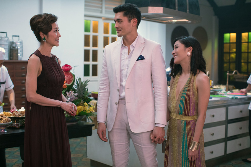 "(L-R) MICHELLE YEOH as Eleanor, HENRY GOLDING as Nick and CONSTANCE WU as Rachel in Warner Bros. Pictures' and SK Global Entertainment's and Starlight Culture's contemporary romantic comedy ""CRAZY RICH ASIANS,"" a Warner Bros. Pictures release."