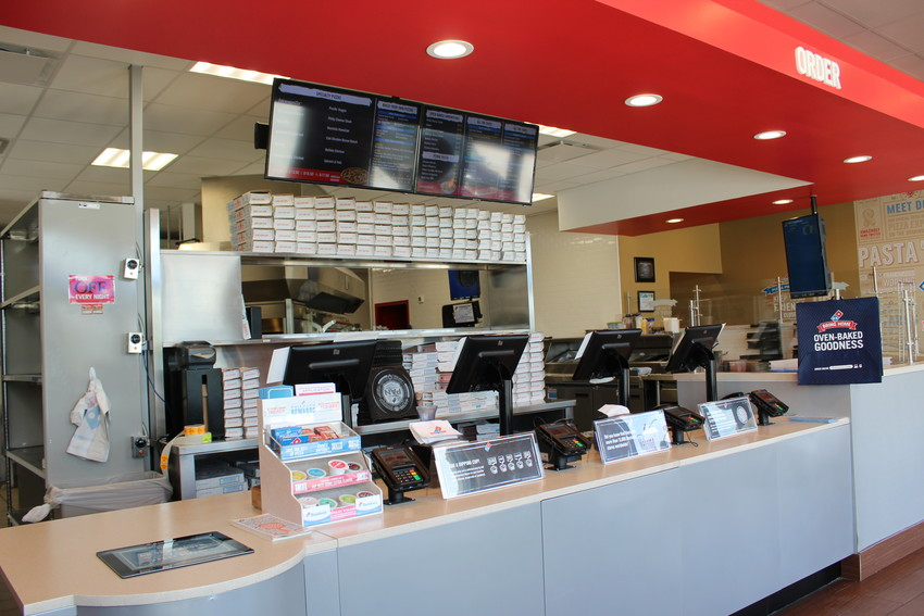 A view of the inside of the new 'pizza theater' concept Domino's pizza restaurant in Jonestown.